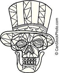 cráneo, tío sam, negro y blanco, mosaico