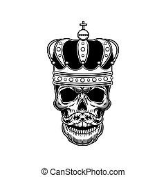 cráneo, vector, emperador, ilustración