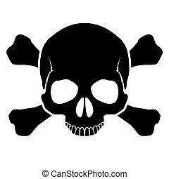cráneo, y, crossbones.