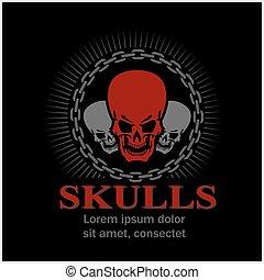 cráneos, caricatura, design.