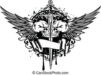 cráneos, dos, espada, alas
