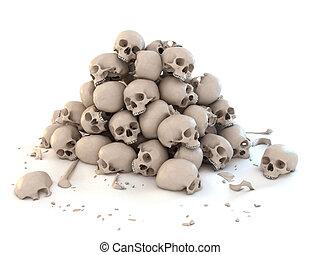 cráneos, encima, blanco, pila, aislado