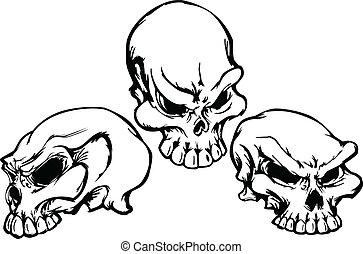 cráneos, grupo, con, gráfico, vector, im