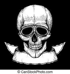 crâne, affiche, main, motards, vecteur, humain, dessiné, witn, lunettes