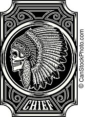 crâne, américain, chef, indien, noir, blanc, indigène