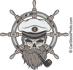 crâne, beard., chapeau, capitaine