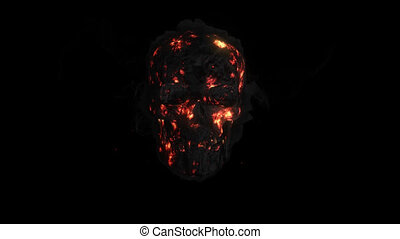 crâne, brûler, animation, fumer, canal alpha