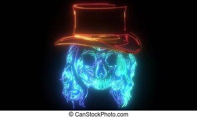 crâne, chapeau, élégant, cow-boy, porter, fedora