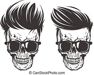 crâne, cheveux, moustache barbe