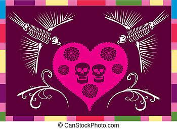 crâne, coeur, mexicain