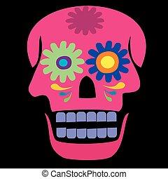 crâne, coloré, rose