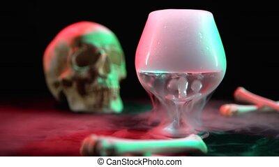 crâne, contre, verre, effet, noir, sec, cognac, os, glace, fond