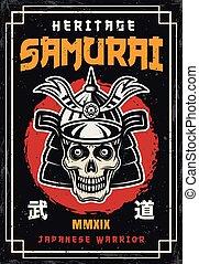 crâne, couleur, vendange, japonaise, samouraï, affiche