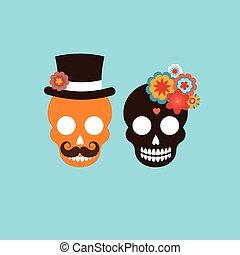 crâne, couple, mexicain, hipster
