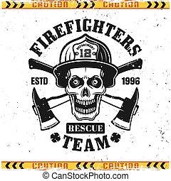 crâne, emblème, pompier, vecteur, haches, deux