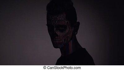 crâne, faire, halloween, haut, studio., homme