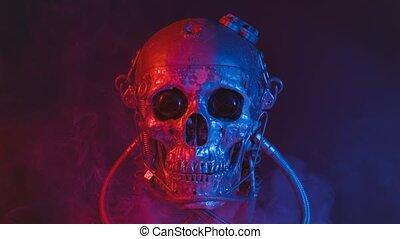 crâne, fumée, bleu, rouges, robotique, lumière