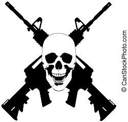 crâne, fusils, vecteur, -