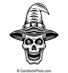 crâne, graphique, chapeau, sorcière, noir, objet, vecteur