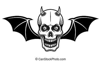 crâne, illustration, cornu, ailes, vecteur, chauve-souris