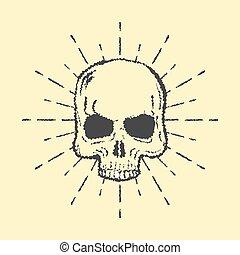 crâne, isolé, vecteur, fond, blanc, sunburst