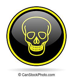 crâne, jaune, noir, lustré, icône internet