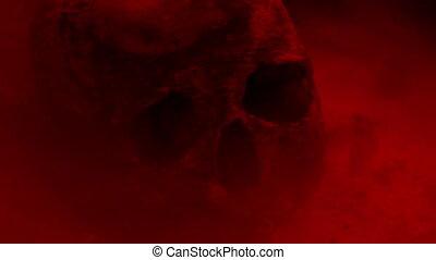 crâne, lumière, brumeux, terrestre, rouges