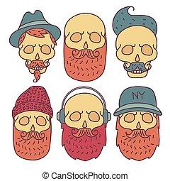 crâne, main, dessiné, hipster