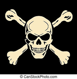 crâne, mal, signe, avertissement, vector., bones.
