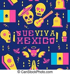 crâne, mariachi, mort, fond, jour, emoji