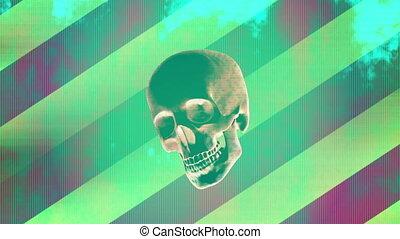 crâne, mouvement, conception, retro, horreur, quatre, boucle, grunge, pop, version