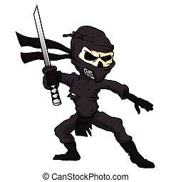crâne, ninja, cartoon.