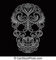 crâne, ornement, ligne