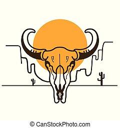 crâne, ouest, illustration, américain, taureau, sauvage, soleil, désert