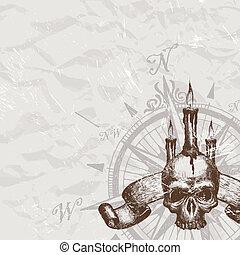 crâne, piraterie, rose, main, vecteur, compas, dessiné