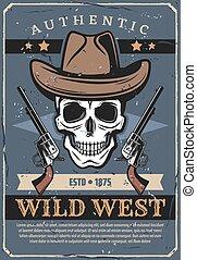 crâne, revolver, ouest, vecteur, sauvage, chapeau