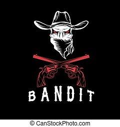 crâne, revolvers, bandit