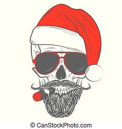 crâne, santa, hipster