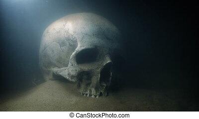 crâne, shimmering, lumière, sous-marin