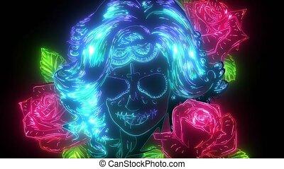 crâne, stylique floral, femme, vidéo, art