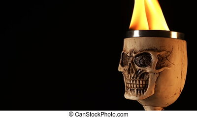 crâne, tête, brûler