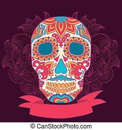 crâne, tatouage, illustration, vecteur