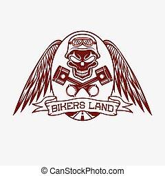 crâne, terre, ailes, pistons, crête, motards