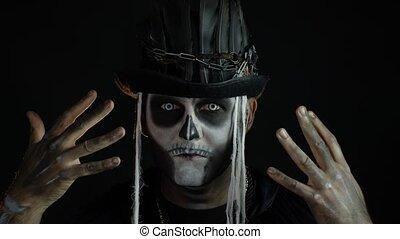 crâne, terrifiant, cosplay, costume., halloween, confection...