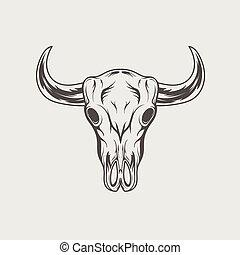 crâne, vendange, illustration, vecteur, logo., taureau, monochrome, gravé
