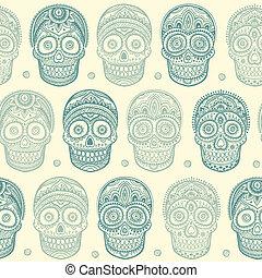 crâne, vendange, seamless, main, humain, ethnique, dessiné