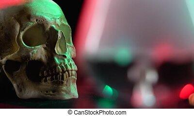 crâne, verre, closeup, effet, fumée, noir, vue brouillée, glace sèche, fond