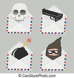 crâne, voleur, intérieur, bombe, ensemble, enveloppe blanche, fusil
