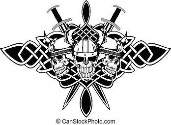 crânes, dans, casques, et, celtique, motifs