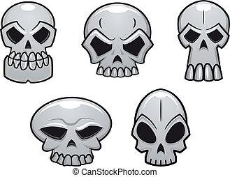 crânes, différent, halloween, humain